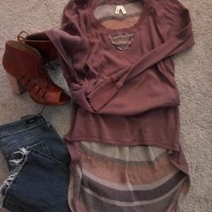 NWT Free People high/low tunic top Rose-Brown